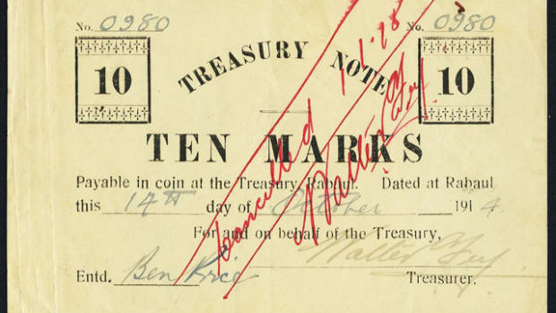 "Top selling and extremely rare German New Guinea Treasury 10 marks [sic] issued by occupying Australian forces in October 1914, P-2b. It easily realized $49,937.50 in Heritage Auctions recent Long Beach sale. This example carries hand written serial number ""980"" and was sold by Spink in their October 1977 Sydney auction. Presumably this was when Ruth Hill acquired the item as it has not been known to have appeared on the market since that time."