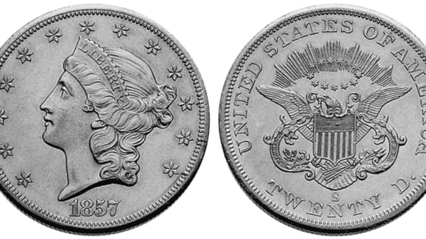 Many 1857-S double eagles were recovered from the shipwreck of the S.S. Central America in the 1980s, leading to a number of Mint State examples with a fascinating story.