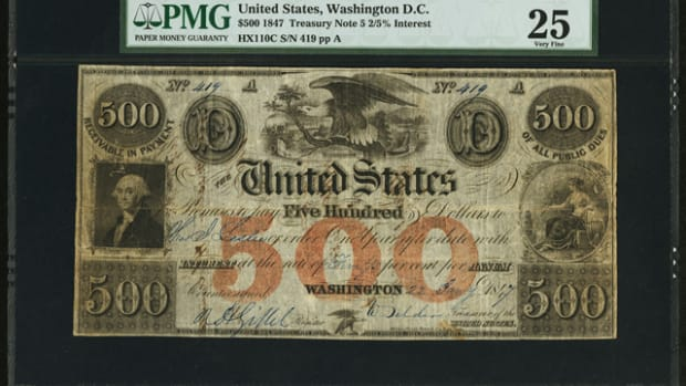 Bearing multiple endorsements on its back, this newly discovered $500 Treasury Note sold for $199,750.