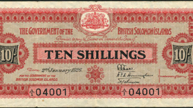 Star of the show: British Solomon Islands 10 shillings of Jan. 2, 1926, P-2, that realized $19,350 in good VF at Spink's July sale.