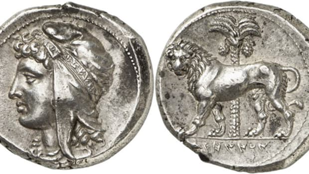 A Siculo-Punic issue of Sicily, tetradrachm, 320-310 B.C.E., mobile mint, extremely fine sold for 180,000 euros at the Künker sale.