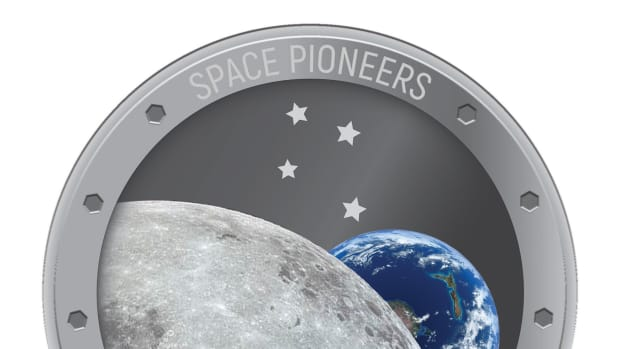 Reverse of silver New Zealand proof dollar celebrating pioneers of space. (Image courtesy New Zealand Post)