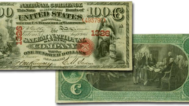 Sure to attract attention at auction is this newly discovered rarity. It's an Original Series $100 from The Salem National Banking Co., Salem, N.J.