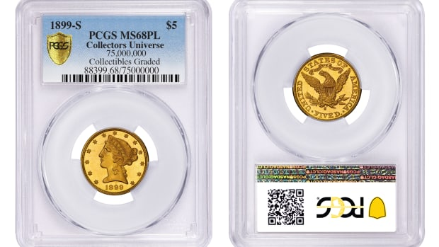 This 1899-S Half Eagle is graded PCGS MS68PL. (Photo credit: Professional Coin Grading Service www.PCGS.com)