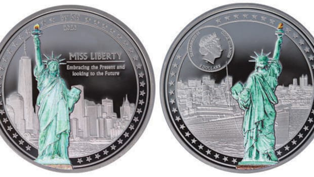 Obverse and reverse of the 1-ounce .999 fine silver $5 Miss Liberty coin. (Images courtesy Coin Invest Trust, CIT)