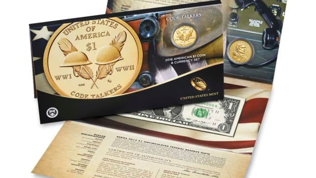 Image of the 2016 Native American Dollar Coin and Currency set.