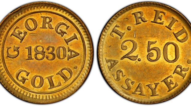 A rare Georgia gold rush-era Templeton Reid $2.50 denomination gold coin made in 1830 was sold at auction in Atlanta for a record price of $480,000 by Kagin's, Inc. of Tiburon, California on February 27, 2020. The buyer is a Georgia-based collector who wants to remain anonymous, according to the auction house. (Photo courtesy of Professional Coin Grading Service www.PCGS.com)