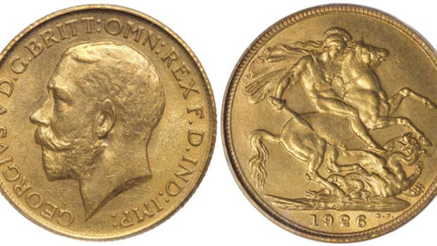 Obverse and reverse of the top-selling Australian sovereign. The very rare 1926S coin graded PCGS MS63 sold for $37,814. Images courtesy Noble Numismatics, Sydney.