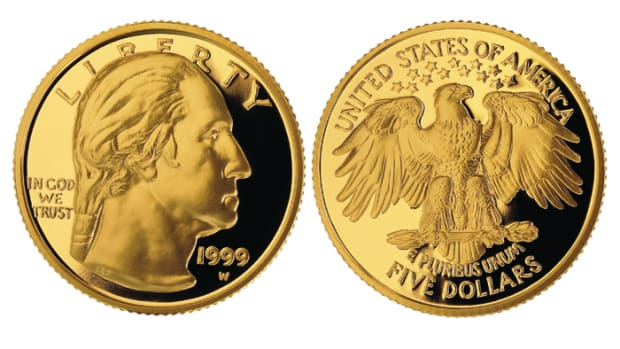 The gold 1999 George Washington commemorative $5. (Images courtesy United States Mint, usmint.gov.)
