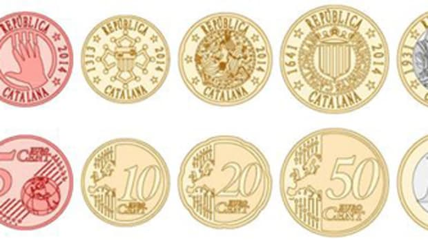 Numerous mockups of different Catalana euro coins are online.