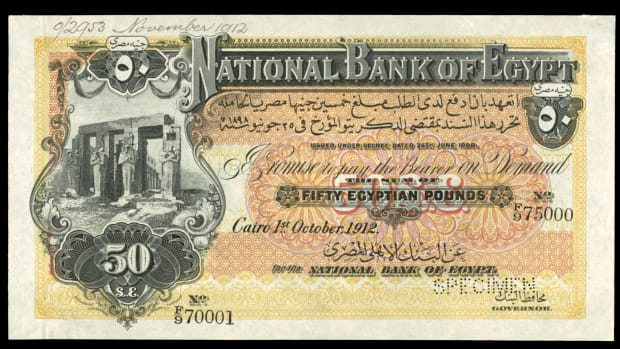 Egyptian notes are running hot these days. This should continue to be the case at the Knight sale where a 50 pounds specimen of 1 October 1912 (P-5s) will head to the block. Joel Shafer is considering assigning it a Choice XF/AU grade. The Standard Catalog of World Paper Money indicates it is available solely as a specimen and gives a valuation of $15,000 in UNC.