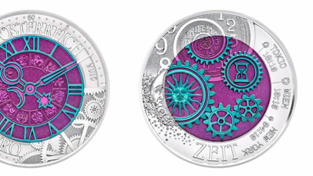 The Austrian Mint's 2016 Time bimetallic niobium-silver coin.