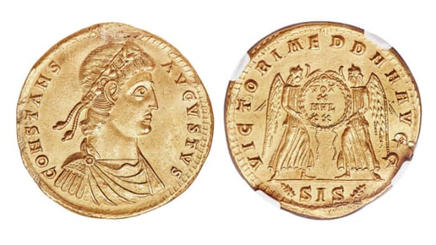 One for the Imperial Roman collector: the unpublished 4.5 solidi medallion of Constans (337-350 CE) minted in Siscia and companion piece to the Constantius II 4.5 solidi RIC VIII 128. It will be offered at Heritage Auctions' Platinum Night® world coin sale at this year's ANA World's Fair of Money in Chicago. (Images courtesy Heritage Auctions.)