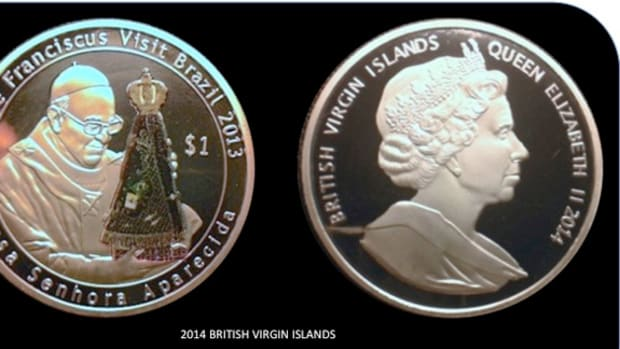 A coin marking the Pope's visit to Brazil was not authorized by British Virgin Islands.