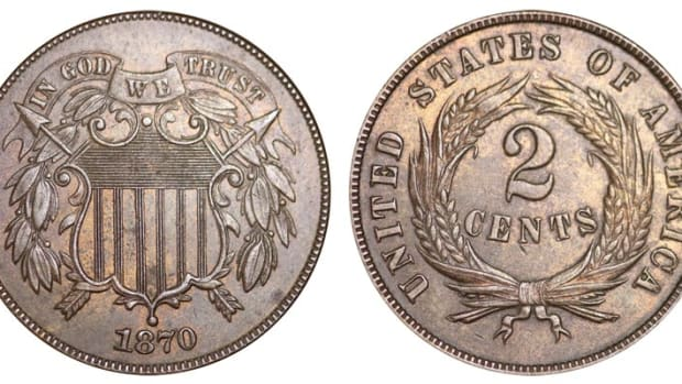 :  The 1870 two-cent piece, minted at Philadelphia, bears no mint mark.  861,250 of these coins were struck, which was the first time the two-cent piece mintage total fell below one million. (Image courtesy of usacoinbook.com)