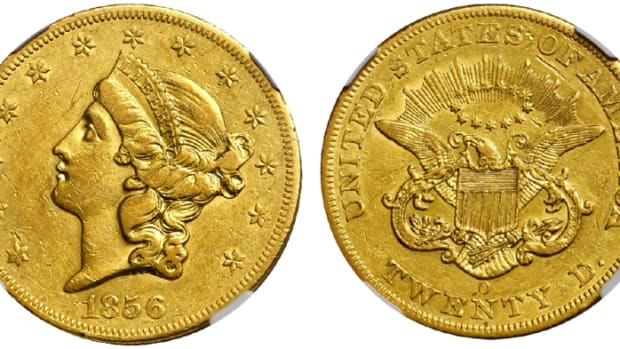 A New Orleans 1856-O double eagle graded AU-53 by NGC crossed the block at $264,000. (Images courtesy Stack's Bowers.)