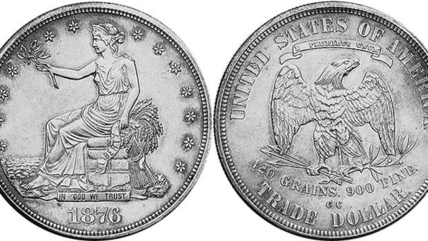 The 1876-CC Trade dollar with a mintage of 509,000 coins varies widely in price, going from $225 in G-4 to $64,000 in MS-65 where just one coin is known.