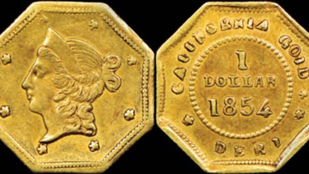 Given the identification number BG-529a, the $1 California gold piece was clearly struck with the BG-529 reverse die, but the obverse shows marked differences in placement of the Liberty Head and stars.