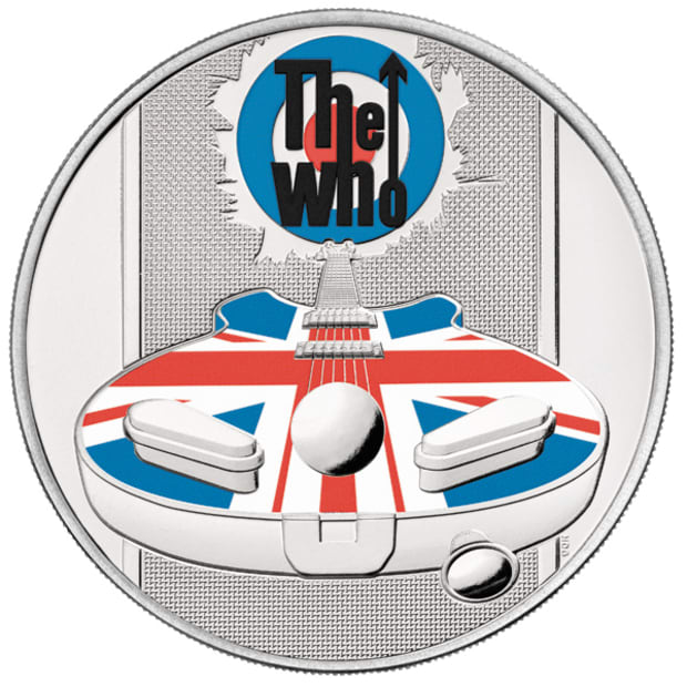 The Who 2021 UK 5 Brilliant Uncirculated Coin reverse pad printed - UK21TWBC