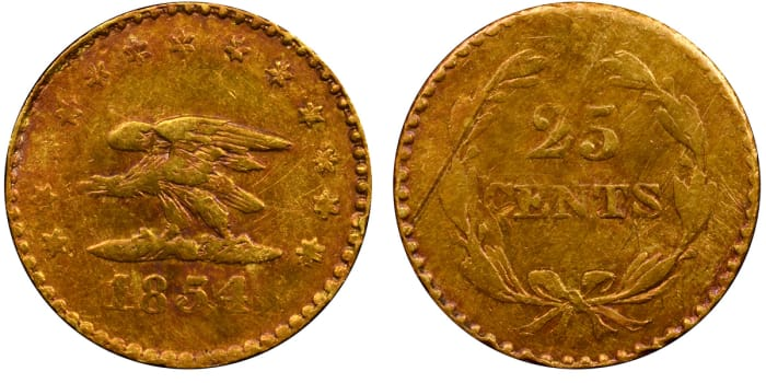 Lot 3030: The California gold Defiant Eagle 25 cents.