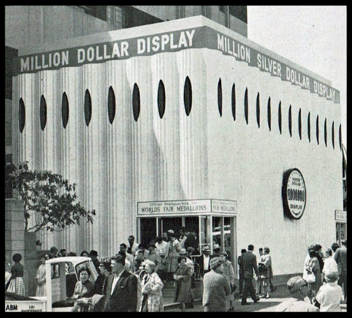The Behlen steel building which housed the coins at the fair.