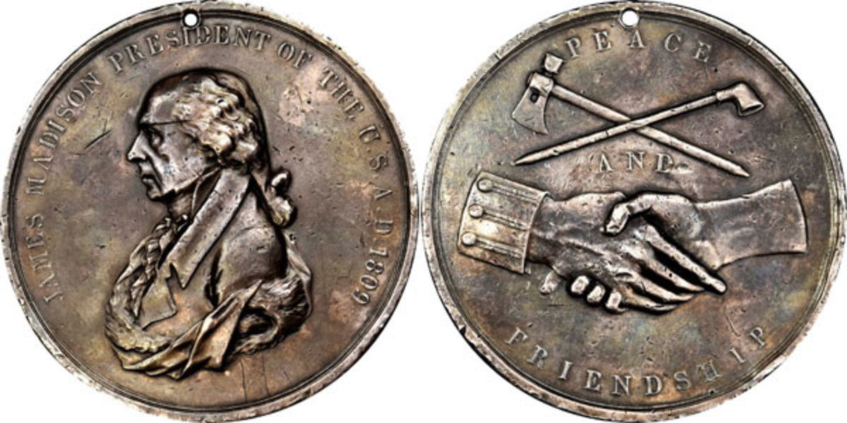 1809 James Madison large-size silver peace medal.  (Image courtesy of Stack's Bowers)