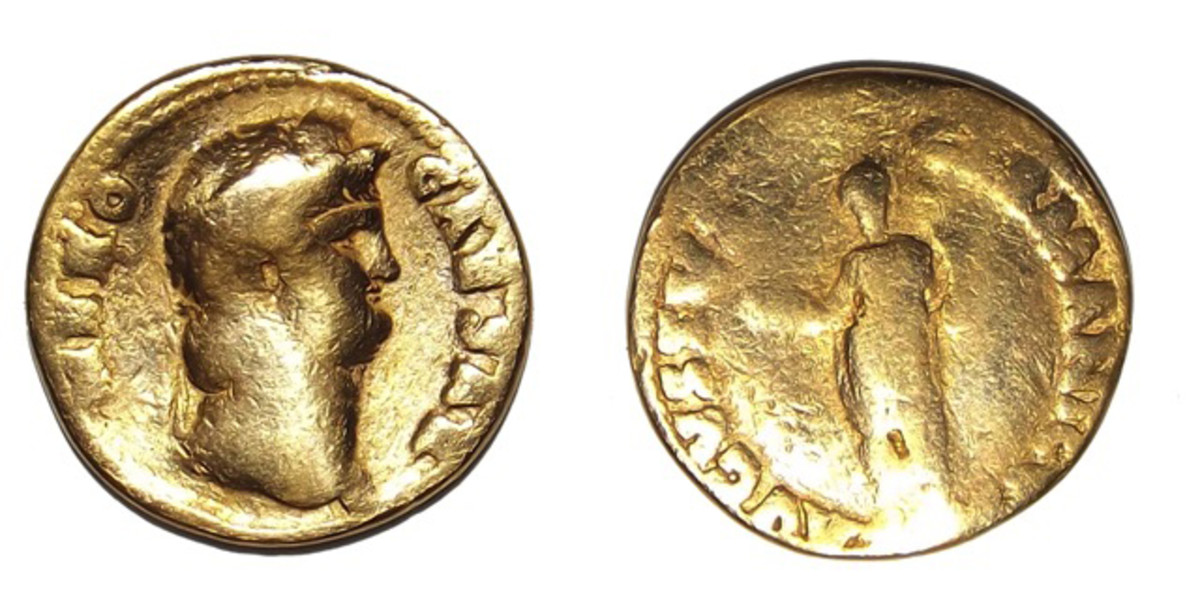 The coin is an About Good issue of Nero struck in AD 64 to 65.