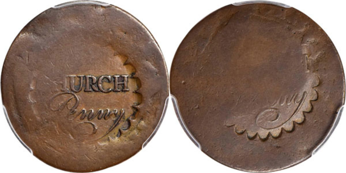 The Albany Church pennies are attributed to the First Presbyterian Church of Albany, New York and were produced as a result of a resolution passed by the church elders on January 4, 1790. These pieces were intended to provide parishioners with coppers to place in the Sunday offering plates. (Image courtesy of Stack's Bowers)