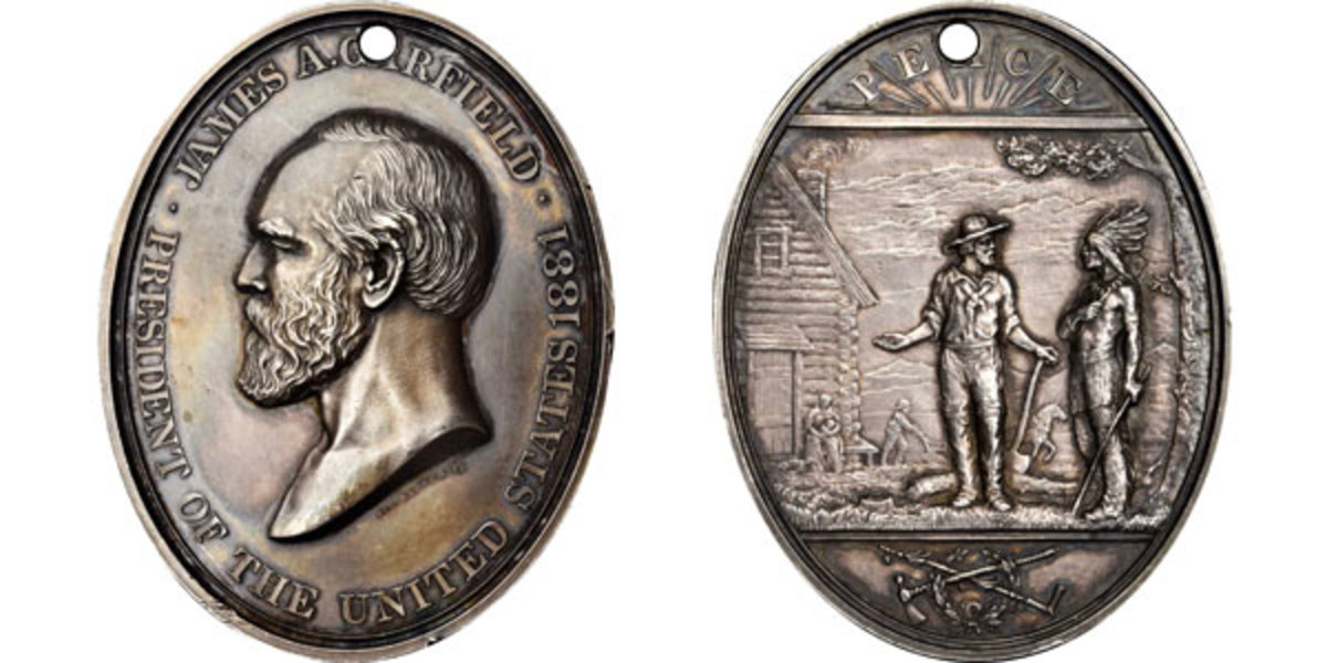 James A. Garfield Indian Peace medal.  (Image courtesy of Stack's Bowers)