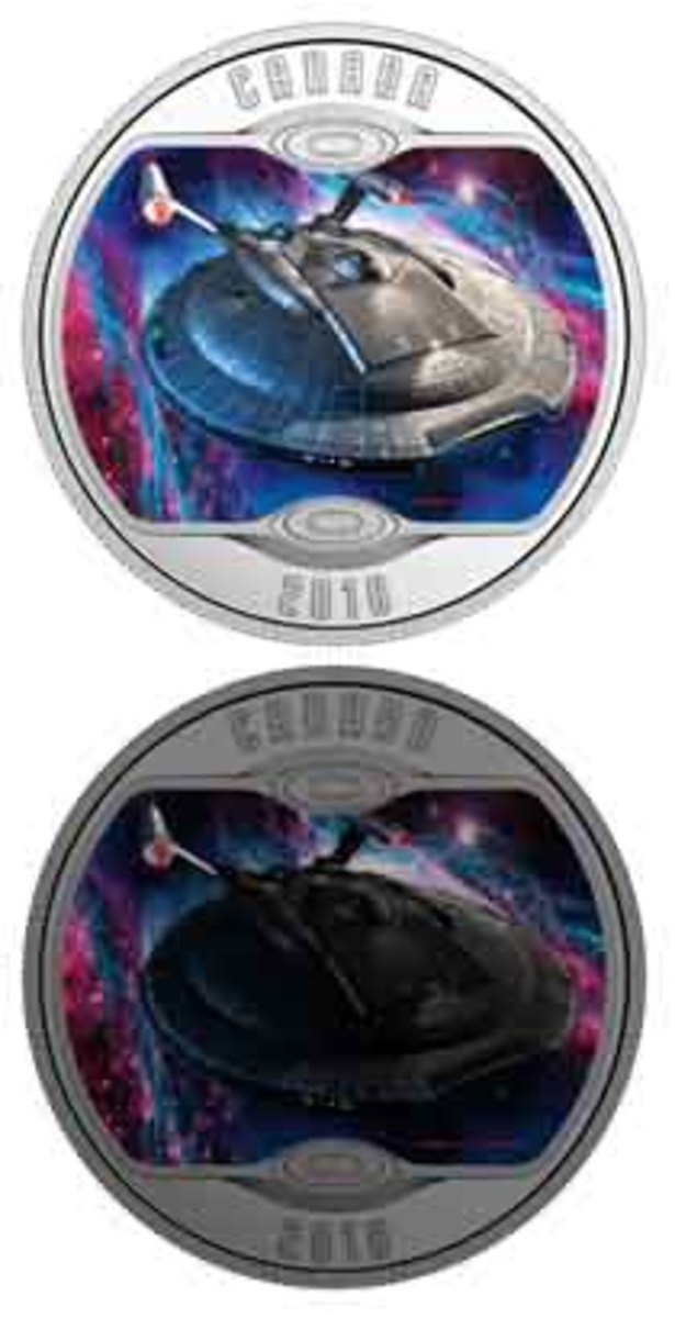 U.S.S. Enterprise NX-01 (top) is shown back-lit by a multicolored, glow-in-the-dark nebula (bottom). (Image courtesy Royal Canadian Mint. Copyright: TM & © 2018 CBS Studios Inc.)