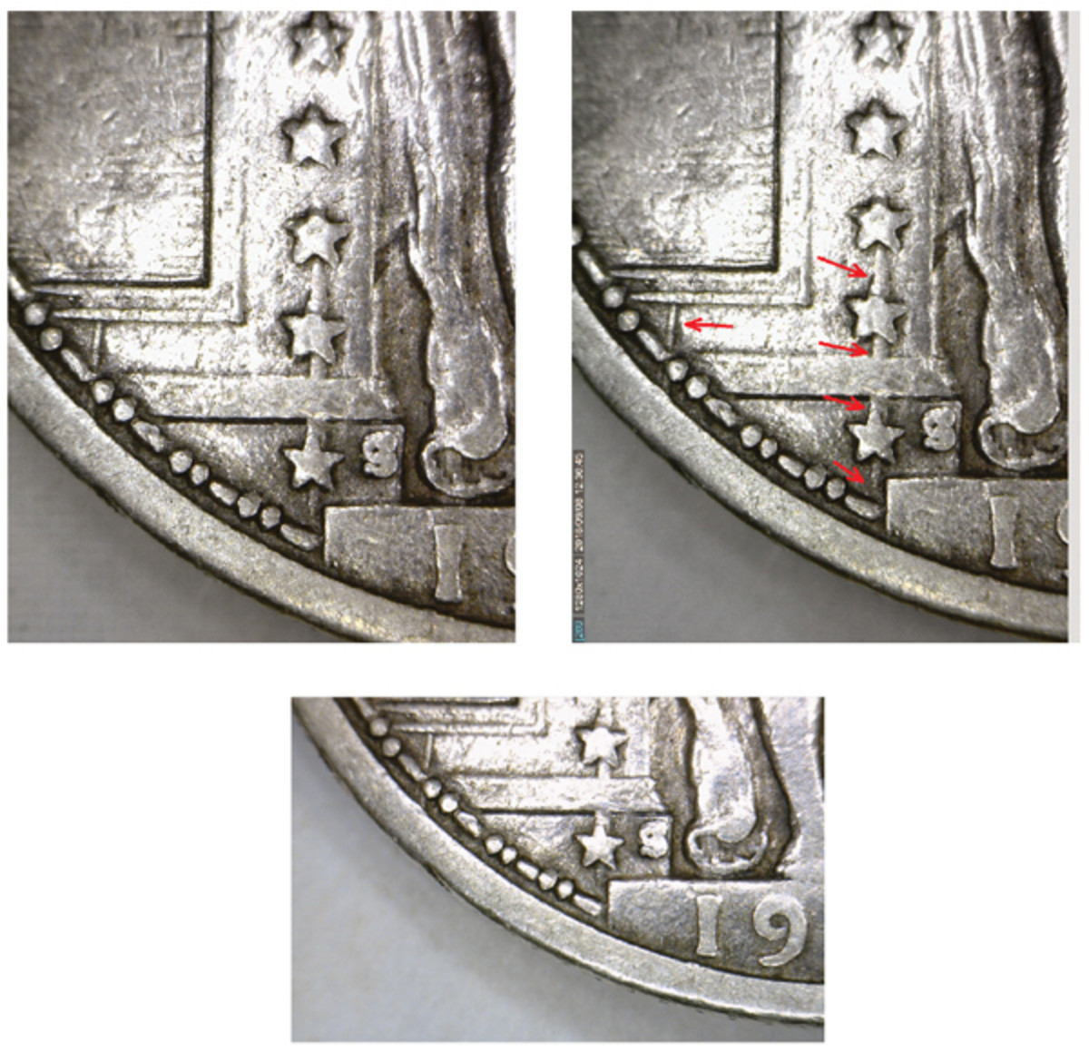 """The bottom three stars on this 1917-S Type I quarter appear to be skewered (top left). The second photo (top right) shows where the die gouges are located. This is a raised area of metal on the coin itself. The gouge is recessed on the die. The lesser die gouge appears to the left. The third image (bottom) shows the """"19"""" portion of the date. (Photos courtesy of Rick DeSanctis)"""