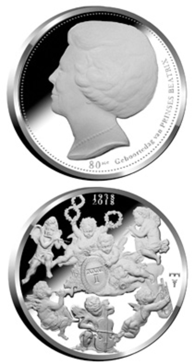 Obverse and reverse of 80th birthday medal struck in cupronickel for Beatrix of the Netherlands. (Images courtesy & © Koninklijke Nederlandse Munt)