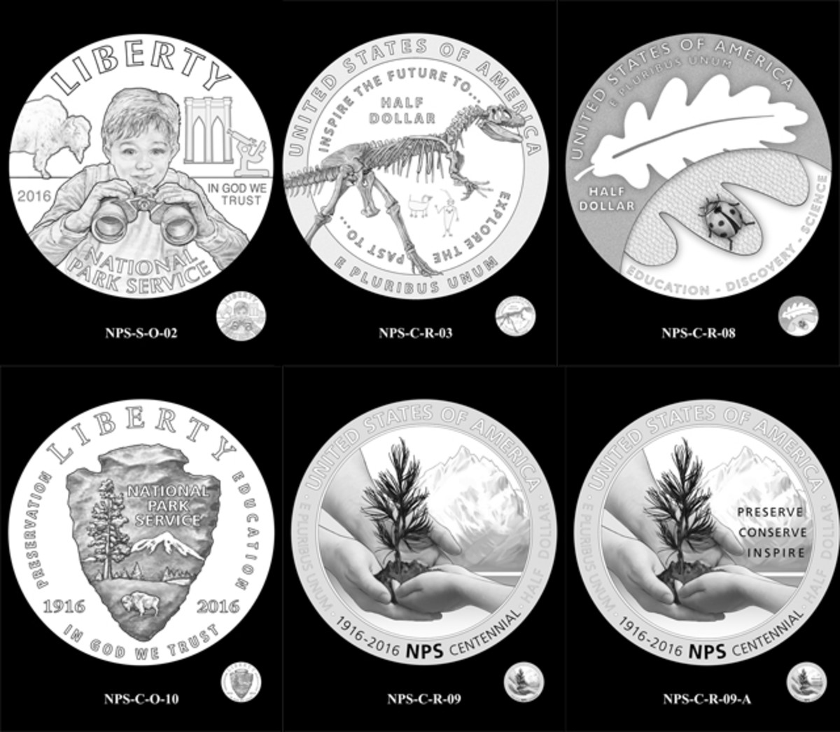 Designs the CCAC discussed for the National Park Service clad half dollar coin. They ended up choosing obverse number 5 and reverse number 3.