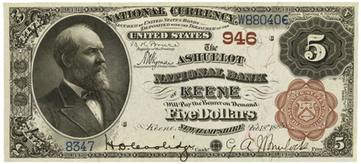 Andrew Pollock completed a yearly listing of bank presidents and cashiers for all 14,348 national banks, including this one from Keene, N.H.