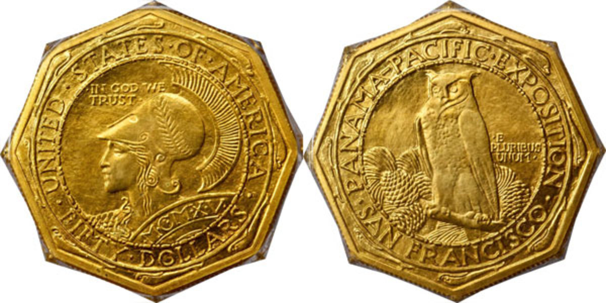 The San Francisco Mint struck 1,500 examples of this 1915-S Panama-Pacific $50 for sale at the Exposition. The original asking price was $100, but later discounted when offered within sets. (Image courtesy of Stack's Bowers)