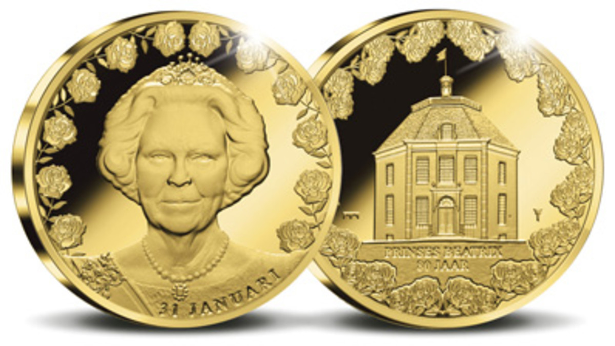 Common obverse and reverse of gold and silver proof medals struck for 80th birthday of Princess Beatrix. (Images courtesy & © Koninklijke Nederlandse Munt)
