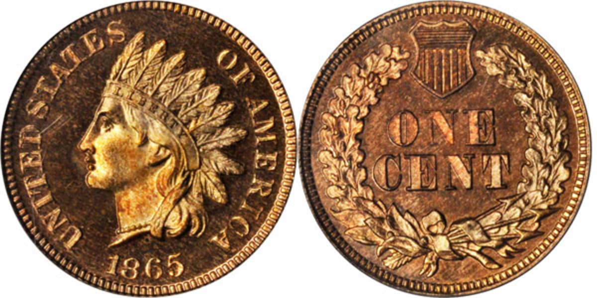 A surviving Proof 1865 Indian cent, this coin is a significant example of the rare Snow-PR1 die pairing. Sold for $13,200. (Image courtesy of Stack's Bowers)