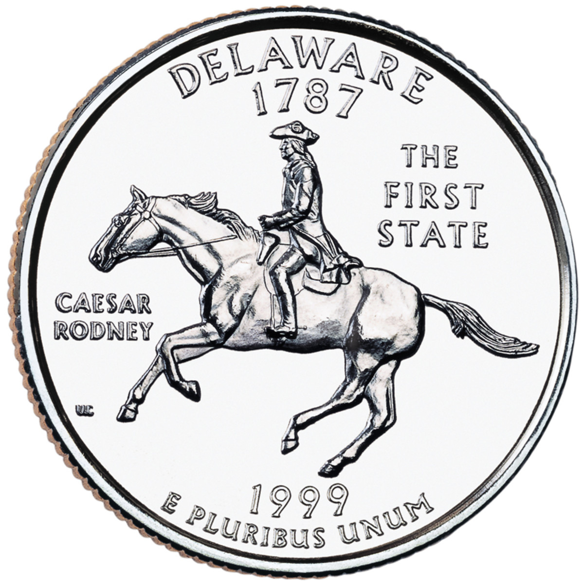 Caesar Rodney depicted on the Delaware Statehood Quarter
