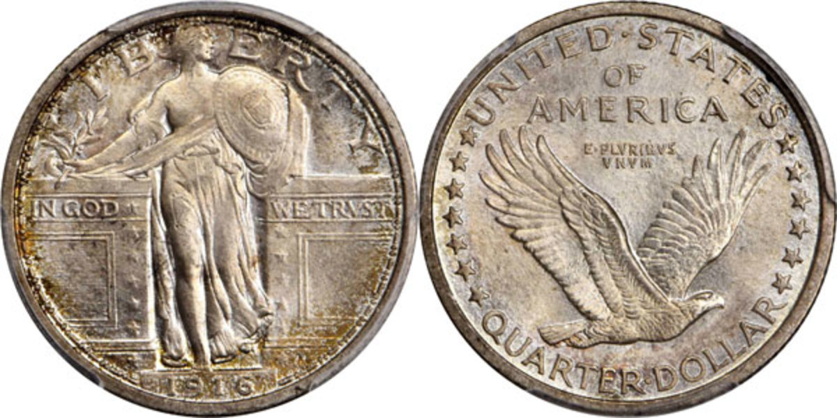 An eagerly sought key date issue, this 1916 Standing Liberty quarter sold for $99,000. Just 52,000 of this year were minted. (Image courtesy of Stack's Bowers)