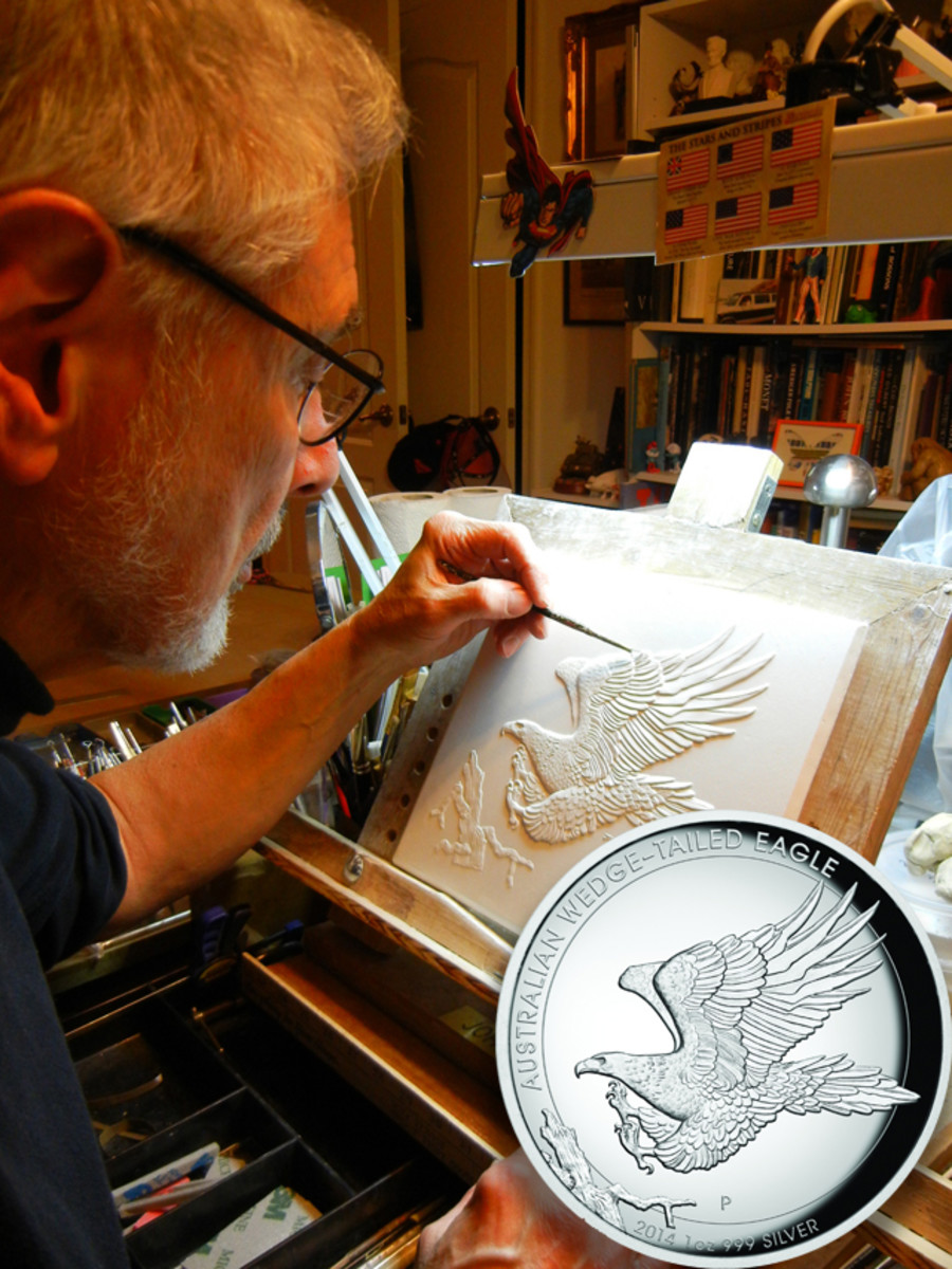 John M. Mercanti at work on his Wedge-tailed Eagle design.