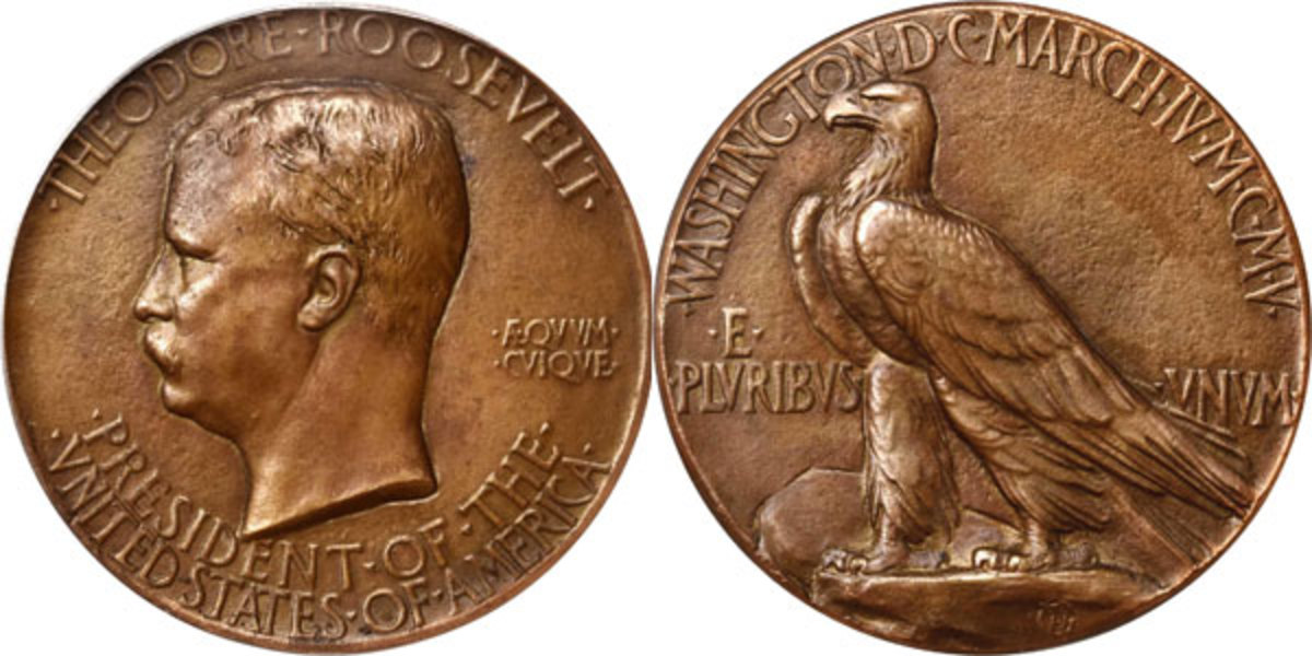 Selling for $31,200, an American Classic MCMV (1905) Theodore Roosevelt inaugural bronze medal is one of just 150 examples authorized to be produced by Tiffany in bronze. It was found in the consignor's grandmother's jewelry box after her passing. (Image courtesy of Stack's Bowers)