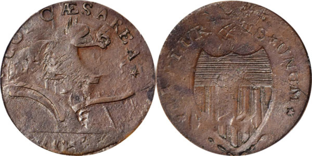 A 1787 New Jersey Copper Maris 73-aa, which was overstruck on an 1787 Connecticut Copper realized $8,400 at the Stack's Bowers Whitman Expo on May 24. (Image courtesy of Stack's Bowers)