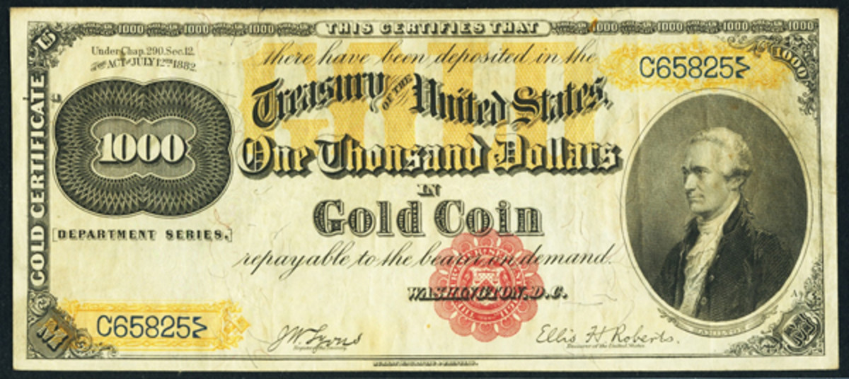 This rare Fr. 1218f 1882 $1,000 Gold Certificate is estimated at $300,000 and up.
