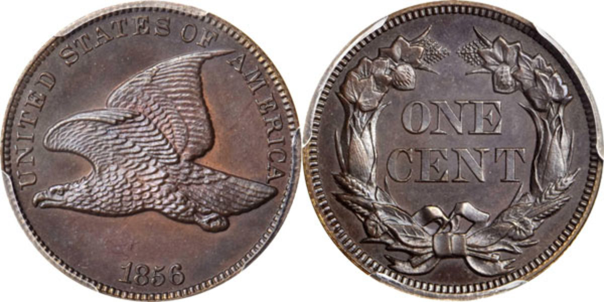 The production of small-diameter cent patterns began in 1850, and by 1856 the desire to create a new format cent for circulation was great. The Mint in Philadelphia struck close to 1,000 examples of James B. Longacre's Flying Eagle design type for distribution to important individuals. (Image courtesy of Stack's Bowers)