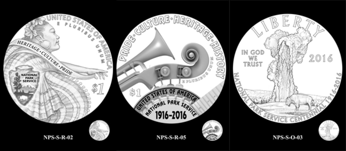 Designs the CCAC discussed for the National Parks Service silver $1 coin. They selected obverse number 1 and reverse number 1.