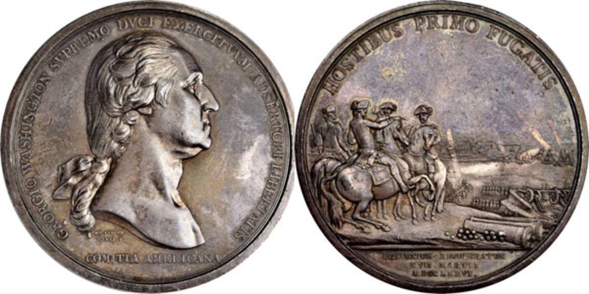 As reported in last week's Numismatic News Express, this example of the famous Washington Before Boston Medal in silver drew $156,000 in the auction. (Image courtesy of Stack's Bowers)