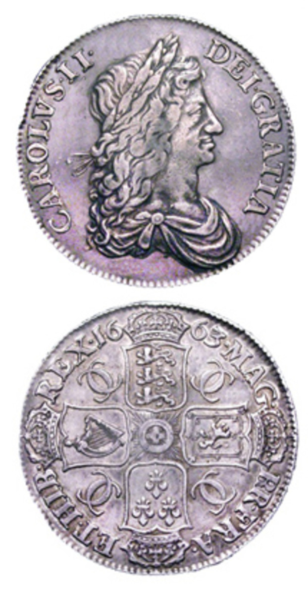 The 1663 silver crown (five shillings) with the Roettier obverse and Simon reverse is shown here.
