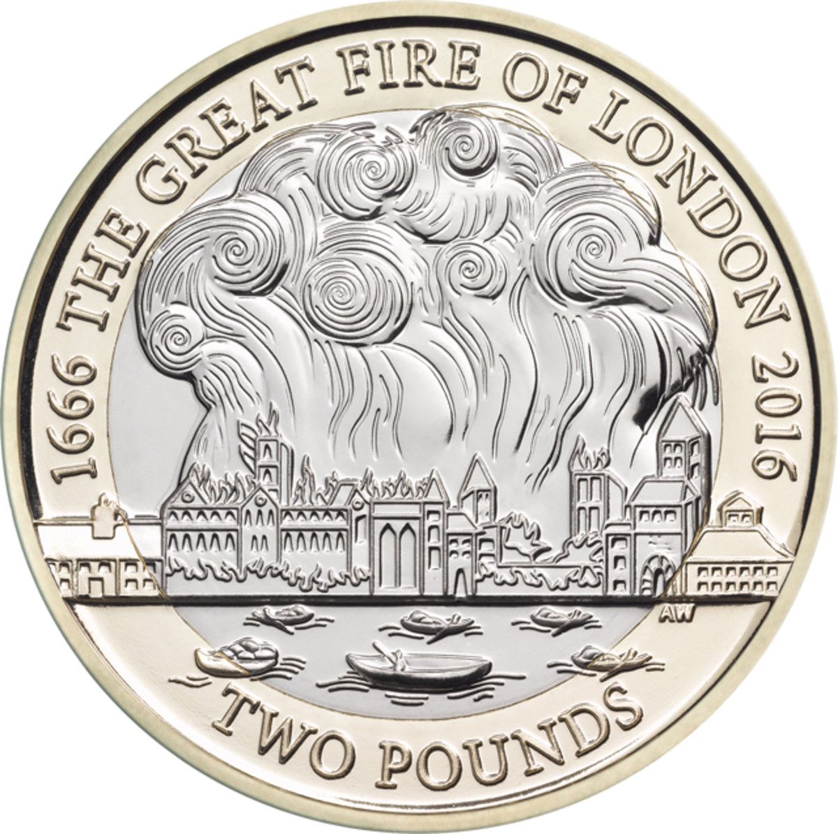 On the £2 coin struck for the 350th Anniversary of the Great Fire of London Aaron West has captured the event that changed the face of the City of London forever