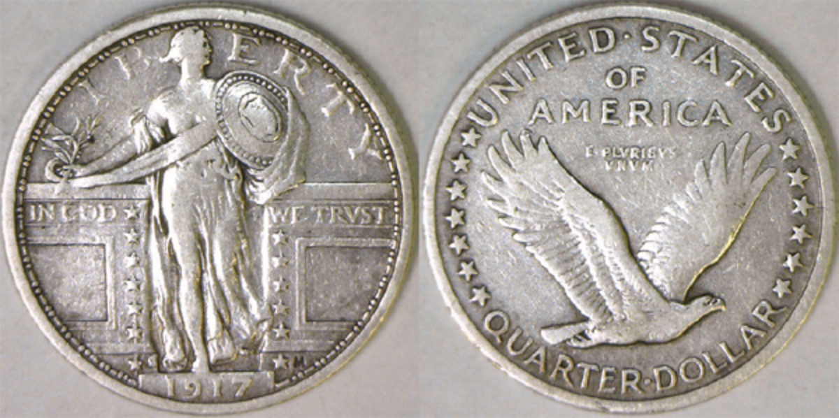 The Type I 1917-S shows a bare-breasted Miss Liberty on the obverse and a flying eagle without stars below it on the reverse. (Photos courtesy of Rick DeSanctis)