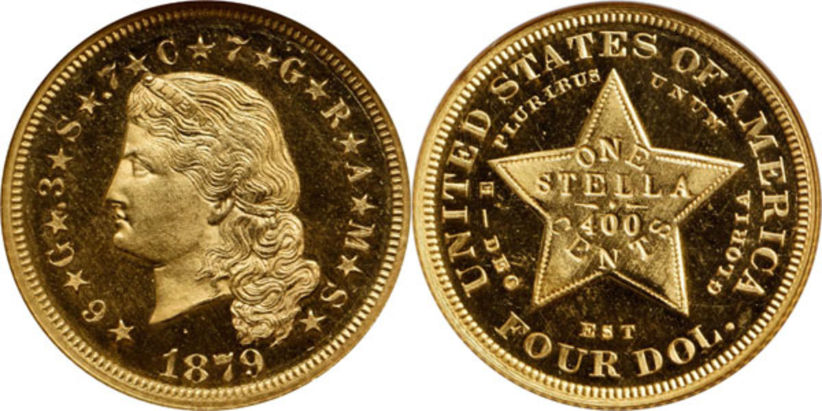 """As a """"type coin,"""" the 1879 Flowing Hair Stella is a significant numismatic rarity, even more so from a market availability standpoint given the strong demand among advanced collectors. Sold for $234,000. (Image courtesy of Stack's Bowers)"""